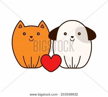 Cute smiling cat and puppy dog with heart. Vector modern line outline flat style cartoon illustration icon. Isolated on white background.Concept for vet shop,veterinary clinic