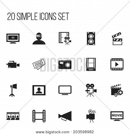 Set Of 20 Editable Movie Icons. Includes Symbols Such As Ticket, Cinematography, Video Camera And More