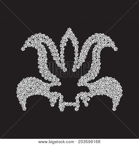 Lily of diamonds on a black background. Vector illustration