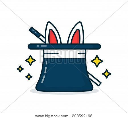 Wizard's hat with a rabbit and a magic wand. Vector modern line outline flat style cartoon illustration icon. Isolated on white background. Tricks concept
