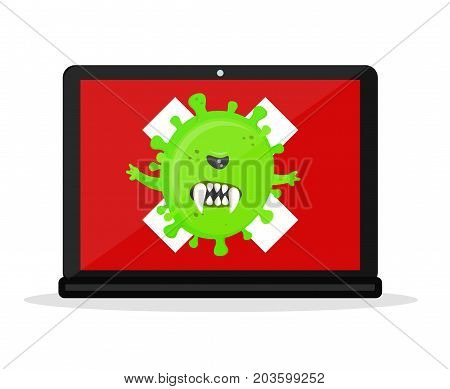 Angry virus in the laptop computer. Vector modern flat style cartoon character illustration. Isolated on white background. Computer danger, virus, antivirus, hacking concept