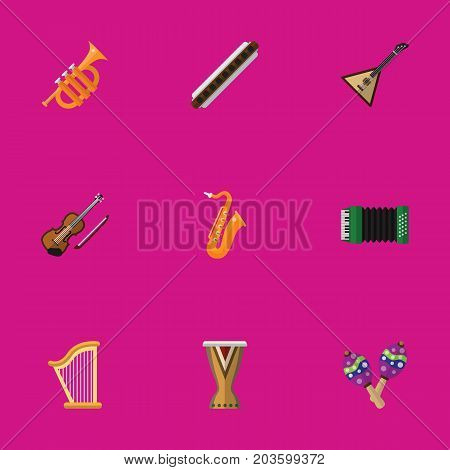 Set Of 9 Editable Multimedia Flat Icons. Includes Symbols Such As Accordion, Sax, Fiddle And More