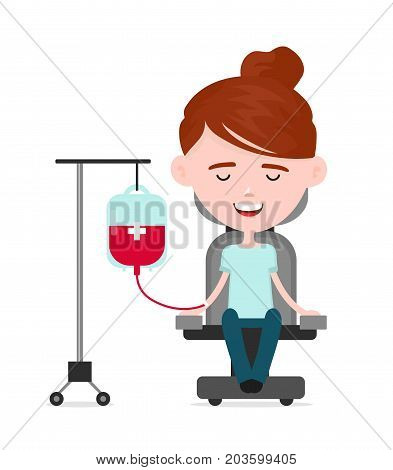 Young happy woman donor, a person donates blood, charity blood donation concept.Vector flat cartoon illustration character icon.Isolated on white background.