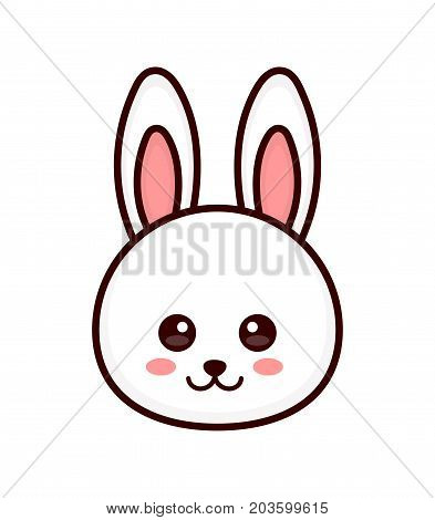 Cute bunny. rabbit face. Vector modern line outline flat style cartoon character illustration. Isolated on white background. Design for child kids rabbit t-shirt
