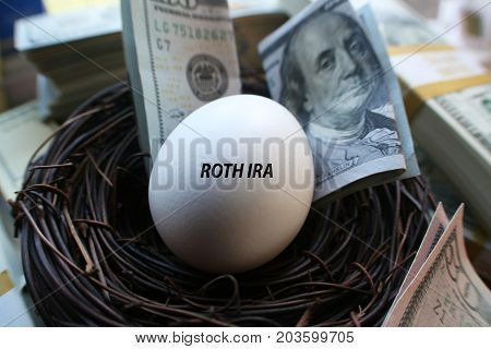 Retirement Nest Egg Surrounded By Money High Quality