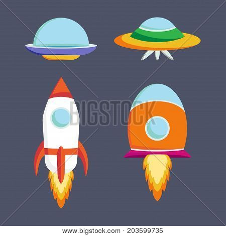 Set of ufo spaceships and spacecrafts in comic cartoon style. Vector illustration.