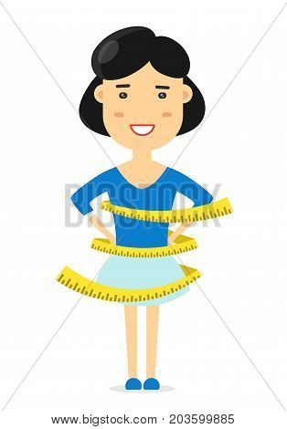 Woman of athletic build measures centimeter of waist. Health body. Good results of correct way of life, diet and sport.Vector flat cartoon illustration character icon.Isolated