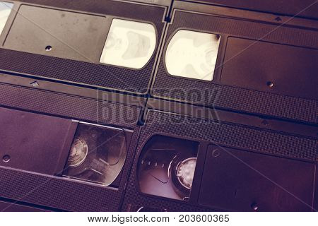 Retro video tape cassette background, vintage toned