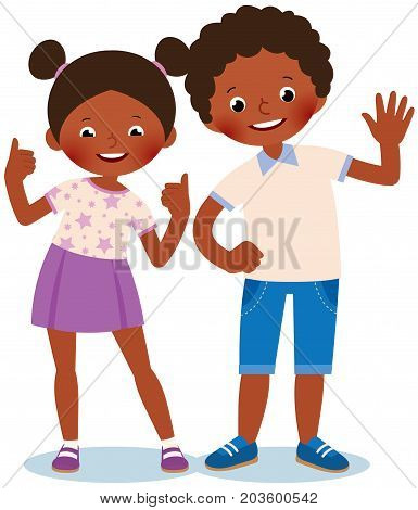 Girl And Boy African Americans Welcome And Show Sign Okay