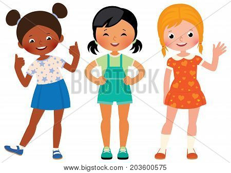 Group Three Children Girlfriends Of Different Nationalities African American Asian And Caucasian
