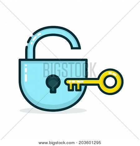 Padlock and golden key. Vector modern line outline flat style cartoon illustration icon. Isolated on white background. Lock save concept