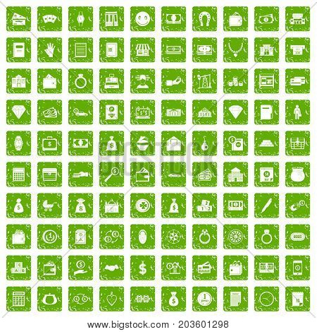 100 deposit icons set in grunge style green color isolated on white background vector illustration