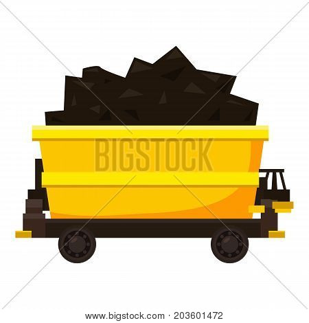 Coal trolley icon. Cartoon illustration of coal trolley vector icon for web