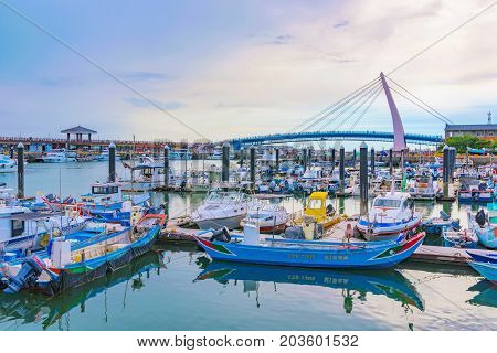 TAIPEI TAIWAN - JULY 05: This is a view of Tamsui fisherman's wharf area which is a popular landmark for couples tourists and locals to visit on July 05 2017 in Taipei