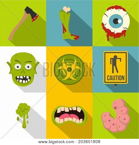 Zombie element icon set. Flat style set of 9 zombie element vector icons for web design