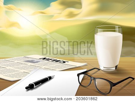 milk-sheet-pen-glass-news paper on wooden table on the morning