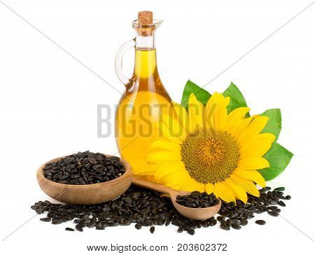 Sunflower oil, seeds and flower isolated on white background,