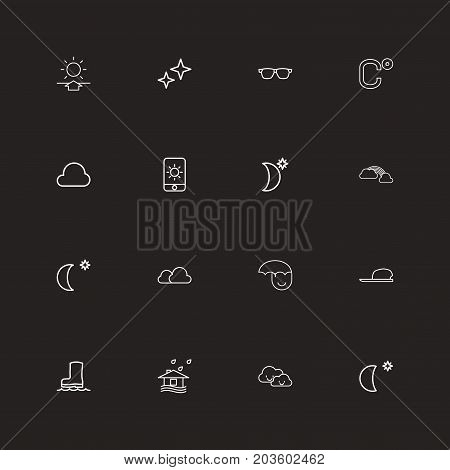 Set Of 16 Editable Weather Outline Icons. Includes Symbols Such As Sun In Display, Waterproof Shoes, Cloudy And More