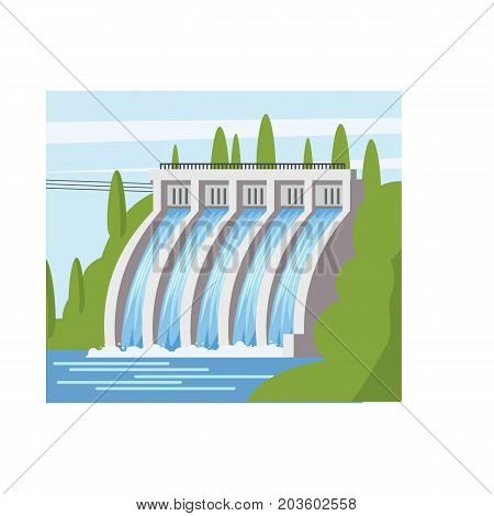 Hydroelectric power station icon. Cartoon illustration of hydroelectric power station vector icon for web