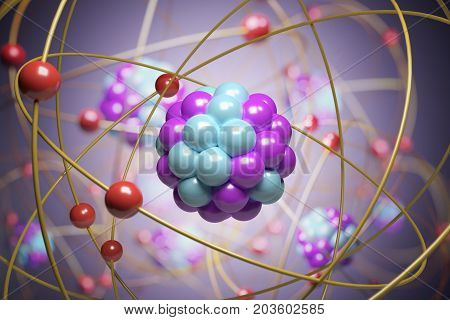 3D Rendered Illustration Of Elementary Particles In Atom. Physic