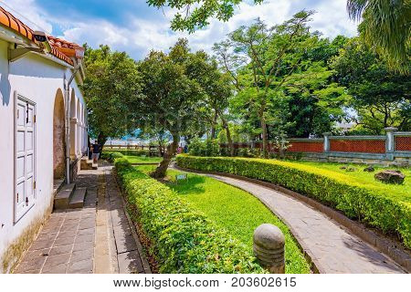 TAIPEI TAIWAN - JULY 05: This is the Tamsui customs officer's residence which is an historic residence in Taipei and is also known as the Little White House on July 05 2017 in Taipei