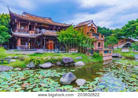 TAIPEI TAIWAN - JULY 04: This is a view of the Lin An Tai historical house and museum a famous museum featuring traditonal Chinese arhcitecture July 04 2017 in Taipei