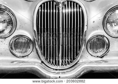 Indianapolis - Circa September 2017: Grille from a classic 60s Jaguar 3.8 S I