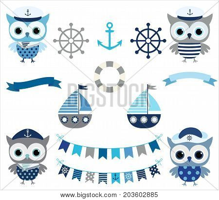 Cute vector nautical set with sailor owl birds buntings and boats in grey and blue colors for baby boy designs and scrapbooking