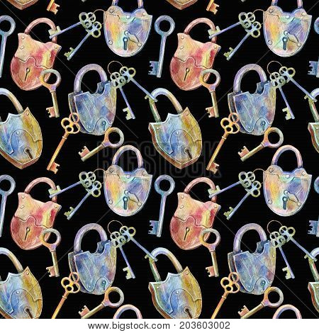Seamless pattern of a padlock and key.Watercolor hand drawn illustration.Black background.