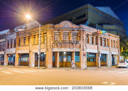 TAIPEI TAIWAN - JULY 02: This is a night view of the exterior architecture of Bopiliao historical block an area which is famous for it's old Chinese architecture on July 02 2017 in Taipei