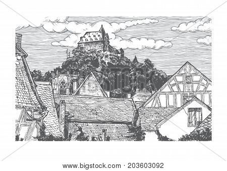 Vector illustration of old town landscape in vintage etching style. Timber-frame houses is on front Wernerkapelle and Stahleck Castle on the back. Bacharach Rhine Gorge Rhineland-Palatinate Germany. poster