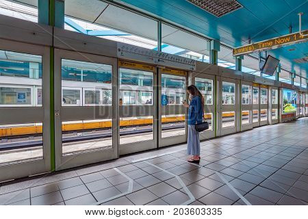 TAIPEI TAIWAN - JULY 01: This is the platform at Zhongxiao fuxing MRT station which is a busy station located in the downtown area of Taipei on July 01 2017 in Taipei