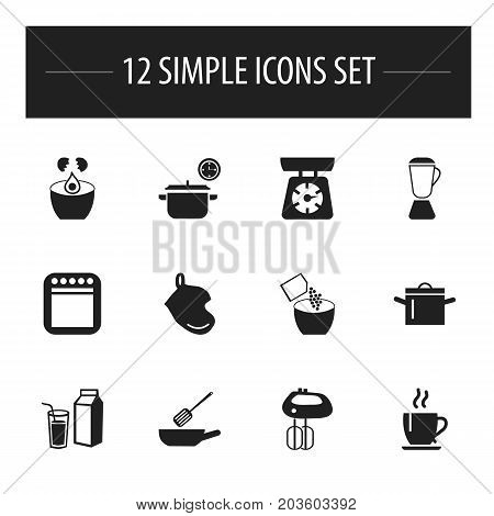 Set Of 12 Editable Kitchen Icons. Includes Symbols Such As Potholder, Cooker, Food Libra And More