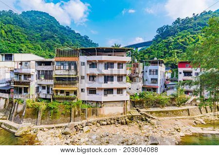 View of Shiding old street riverside housing