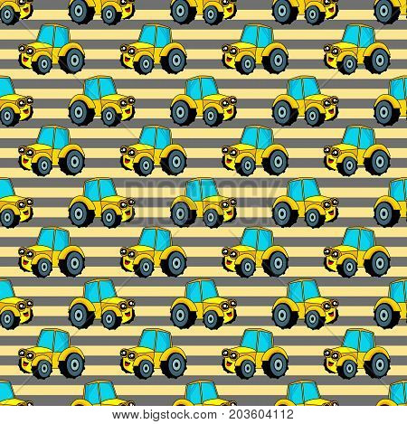 Cute kids pattern for girls and boys. Colorful car tractor on the abstract bright background create a fun cartoon drawing.The background is made in blue colors.Car pattern. Childish pattern. Boys pattern. Kids pattern. Baby pattern.