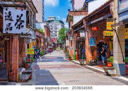 TAIPEI TAIWAN - JUNE 29: This is Shenkeng old street a famous old street which features old Chinese arhcitecture and tradititonal shops and restaurants on June 29 2017 in Taipei