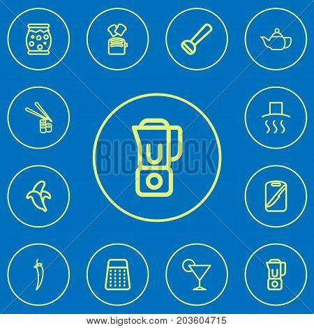 Set Of 12 Editable Food Outline Icons. Includes Symbols Such As Potato Peeler, Board, Drink And More