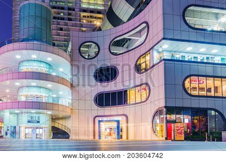 TAIPEI TAIWAN - JUNE 28: This is Syntrend Creative Park a popular modern shopping mall which sells consumer electronics on June 28 2017 in Taipei