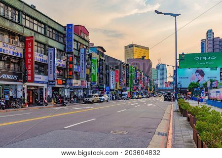 TAIPEI TAIWAN - JUNE 28: This is Guanghua electronics market a famous street where people come to purhcase consumer electronics on June 28 2017 in Taipei