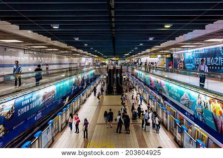TAIPEI TAIWAN - JUNE 27: This is the interior architecture of Zhongxiao fuxing station a busy station in the donwtown area on June 27 2017 in Taipei