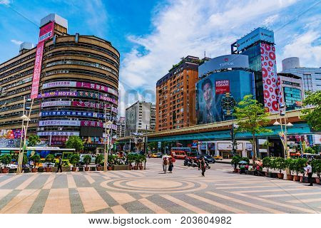 TAIPEI TAIWAN - JUNE 27: This is a view of the Zhongxiao fuxing shopping district a popular landmark in the downtown area on June 27 2017 in Taipei