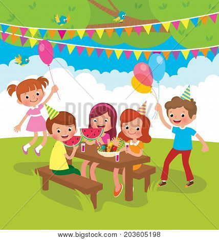 Children Birthday Party Outdoors