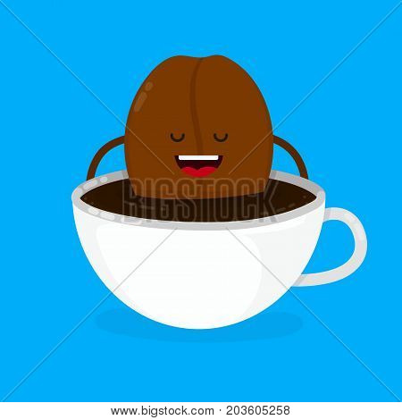 Cute smiling happy coffee bean lies in coffee cup. Vector modern style flat cartoon character illustration design icon. Isolated on blue background.  Creative concept for coffee cafe card