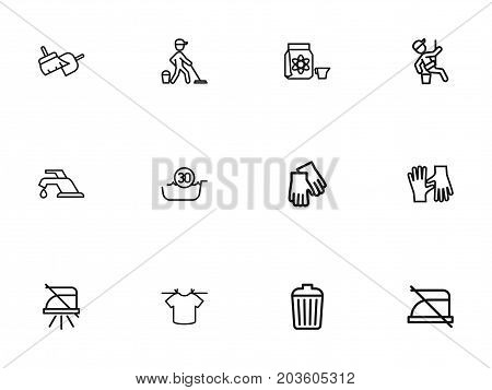 Set Of 12 Editable Hygiene Outline Icons. Includes Symbols Such As Window Cleaner, Hygiene, Sweeping Tools And More