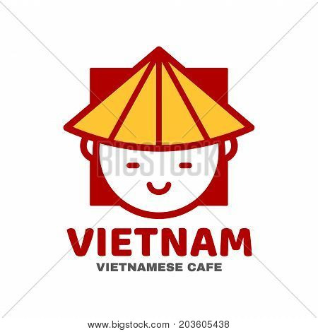 Vietnam logo template design. Vector modern line outline flat style cartoon character illustration icon. Isolated on white background.Concept creative card, logo for street Vietnamese asian food cafe