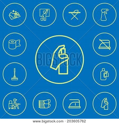 Set Of 12 Editable Cleanup Outline Icons. Includes Symbols Such As Wiping, Do Not Iron, Bleach And More