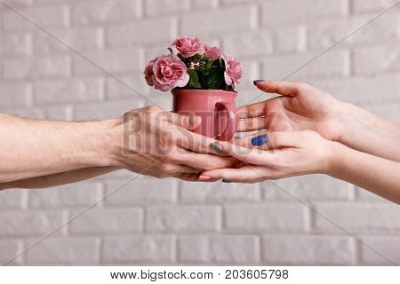 Presented beautiful roses in crimson cup. Festive background of gift with love, early spring and blossom concept, flowers delivery concept