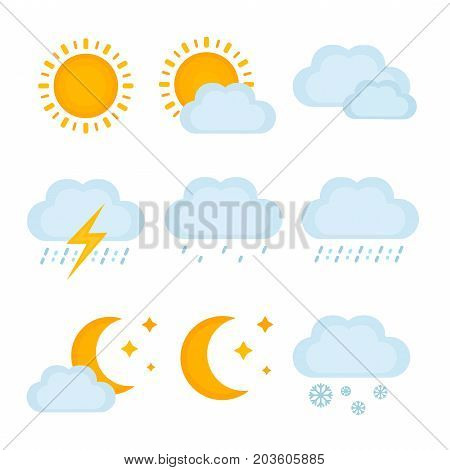 Weather forecast, metcast signs. Vector modern flat style cartoon illustration icon. Isolated on white background. Sun, clouds, rain, thunder, snow