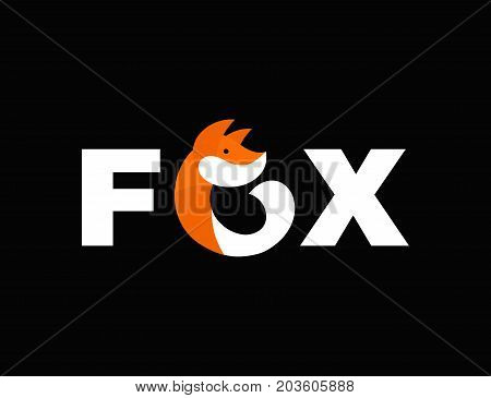 Abstract fox vector flat illustration icon template logo design. Isolated on black background. Red fur fox concept