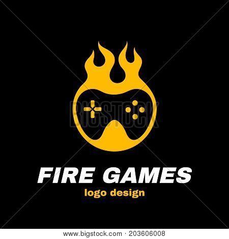 Fire games vector icon illustration template logo design. joystick in fire. Hot game, gamepad, gamer concept